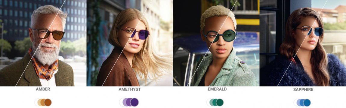 Transitions Style Colours available in Sapphrie, Amethyst, Amber and Emerald