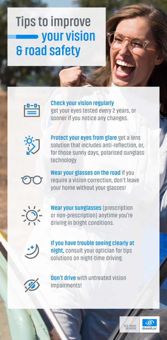 Tips to improve your vision and road safety infographic