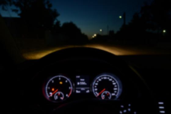 Blurred dials in a car