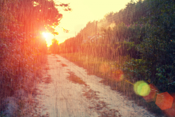 Weather going from rain to sunshine