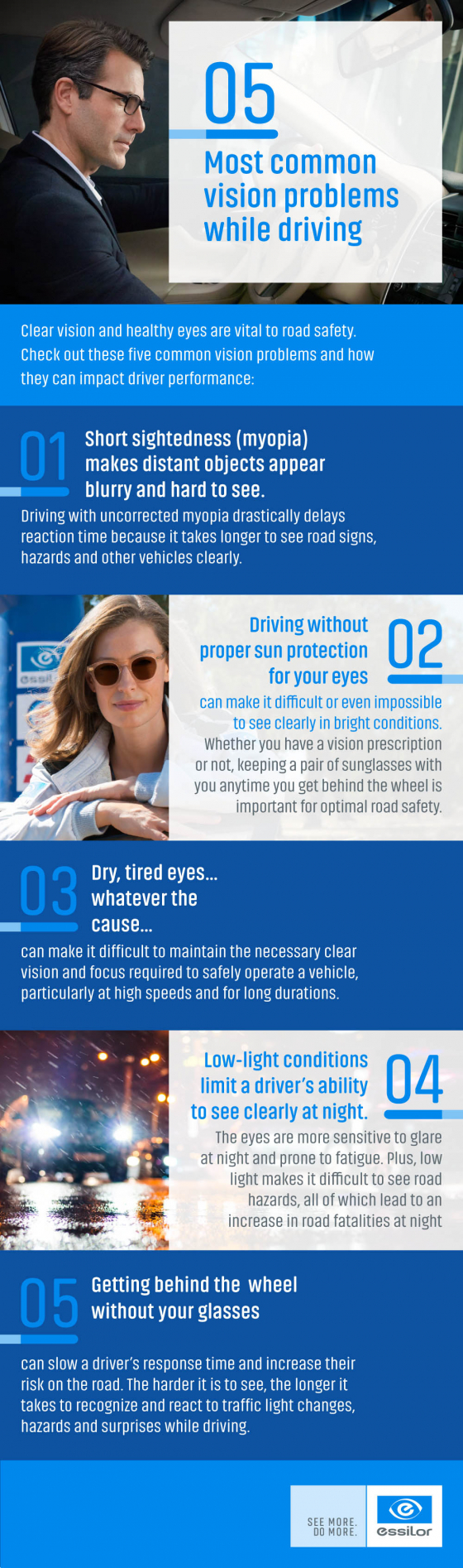 5 most common vision problems while driving infographic