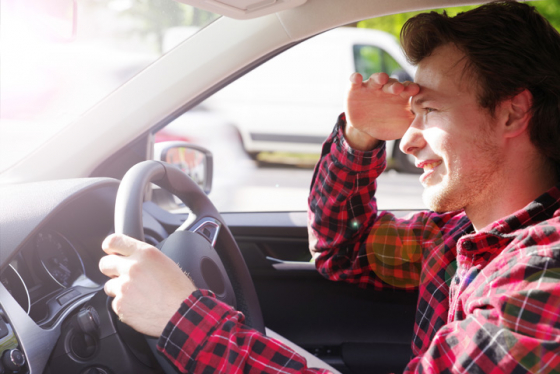 Man blinded by light while driving due to low sun