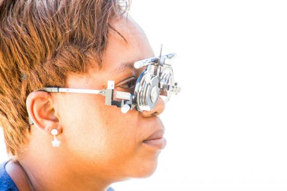 lady wearing eye test glasses