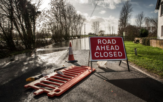 Road closure due to flooding