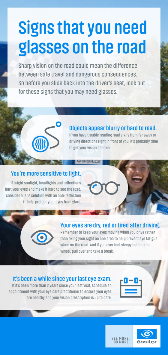 Signs that you need glasses on the road infographic