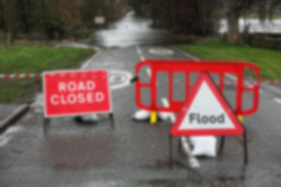 Blurred image of hazard on road